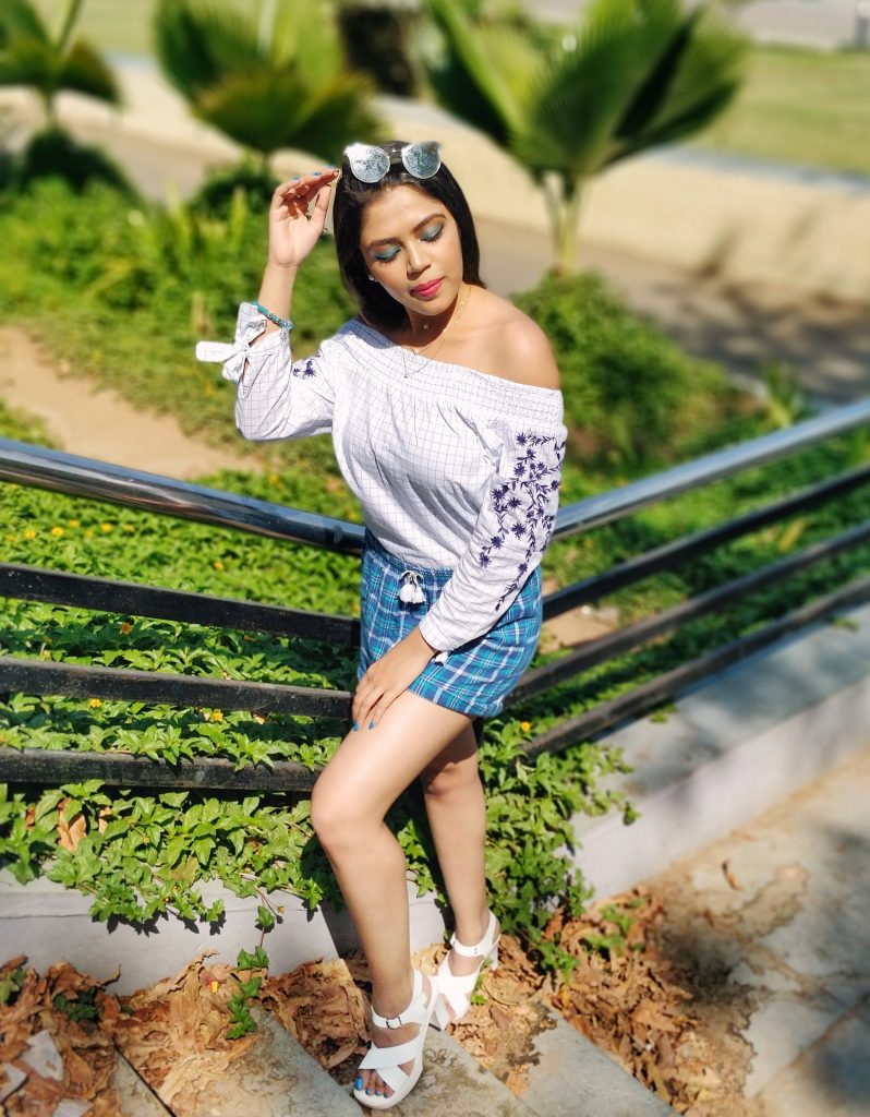 white off shoulder top checks top floral embroidered top basic shorts